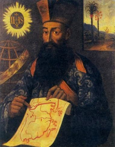 Photo of the ca. 1540 painting reveling a map of China that shows the islands of Taiwan (Formosa), Jeju (Quelpart) off the Korean peninsula, Senkaku, Okinawa, Kyushu, Shikoku, and western Honshu  by Italian Jesuit missionary Martino Martini, also known as (衛匡國) Wei Kuangguo